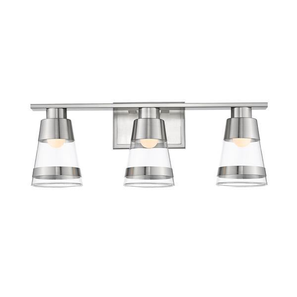 Z-Lite Ethos Bathroom LED Vanity Light - 3-Light - Brushed Nickel