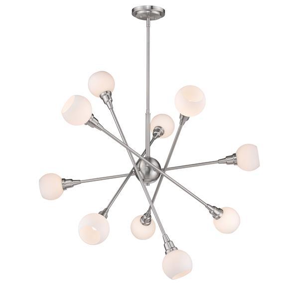 Z-Lite Tian 10-Light Pendant - 39.25-in  - LED Light - Brushed Nickel