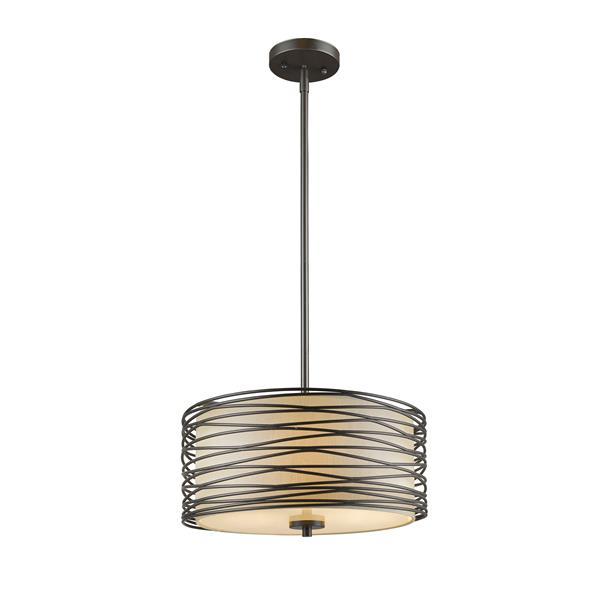 Z-Lite Zinnia 3-Light Pendant - 14-in - Bronze