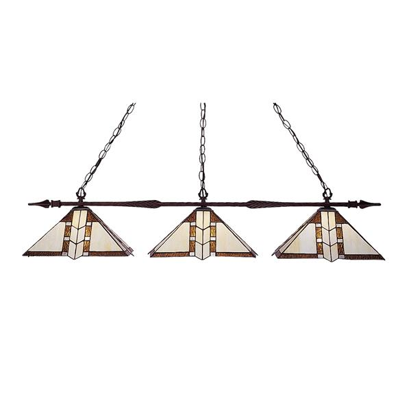 Luminaire de cuisine suspendu Aztec, 3 lumières, bronze