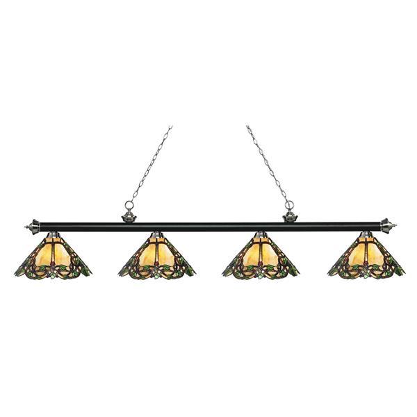 Luminaire de cuisine suspendu Riviera,4 lumières,noir/nickel