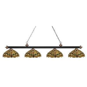 Luminaire de cuisine suspendu Riviera,4 lumières,noir/cuivre