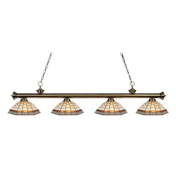Luminaire de cuisine suspendu Riviera, 4 lumières, Laiton