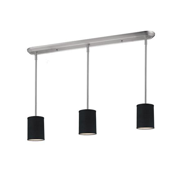 Luminaire de cuisine suspendu Albion, 3 lumières, nickel