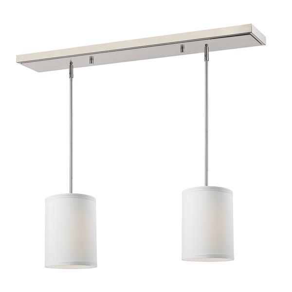 Luminaire de cuisine suspendu Albion, 2 lumières, nickel