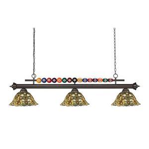 Luminaire pour table de billard Shark, 3 lumières, bronze