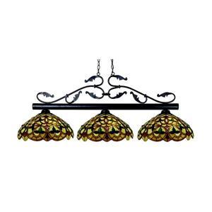 Luminaire de cuisine suspendu Bourbon, 3 lumières, bronze