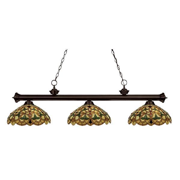 Luminaire de cuisine suspendu English Ivy,3 lumières, bronze