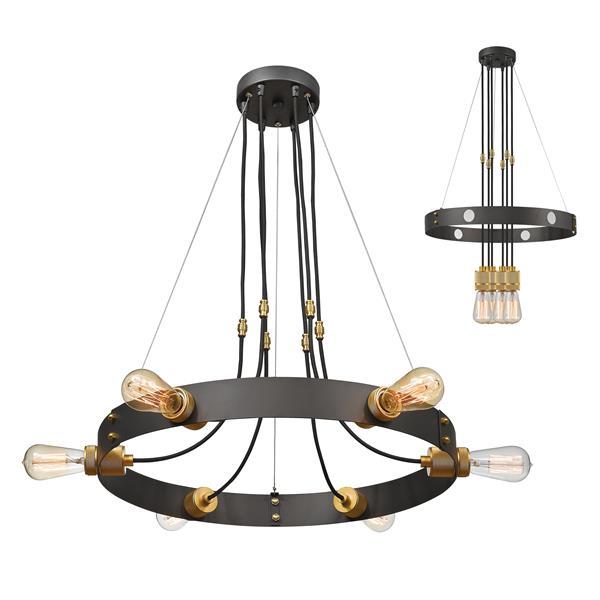 Lustre industriel à 6 lumières Troubadour, 100 W, bronze
