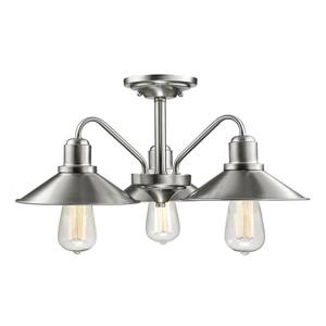 Z-Lite Casa 3-Light Semi Flush Mount Light fixture - Brushed Nickel