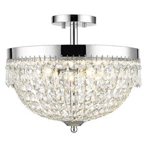 Z-Lite Danza 4-Light Semi Flush Mount - Clear Crystal and Chrome