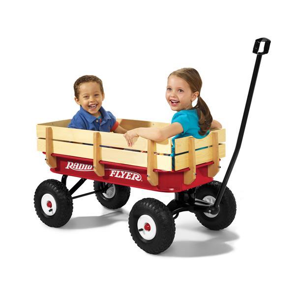 Chariot tout terrain en bois, rouge