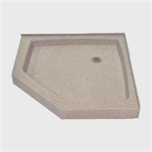 The Marble Factory NEO Angle Shower Base - 42-in x 42-in - Irish Cream