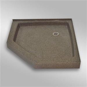 Base de douche en angle NEO, 42 po x 42 po, pierre carioca