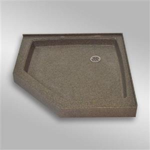 Base de douche en angle NEO, 36 po x 36 po, pierre carioca
