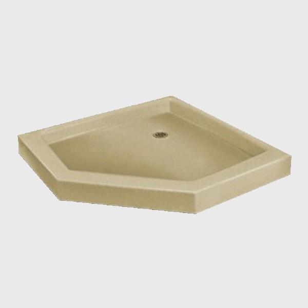 The Marble Factory NEO Angle Shower Base - 42-in x 42-in - Solid Bone