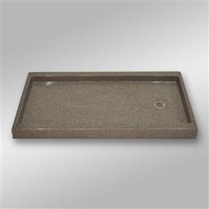 """Base de douche, drain de décalage droite, 60"""" x 32"""", pierre"""