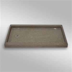 The Marble Factory Shower Base with Left-Hand Offset Drain - 60-in x 32-in - Carioca Stone