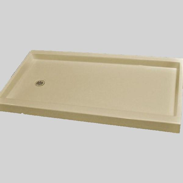 The Marble Factory Shower Base with Left-Hand Offset Drain - 60-in x 32-in - Solid Bone