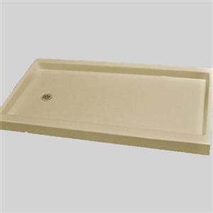 Base de douche, drain de décalage à gauche, 60 po x 32 po, os solide