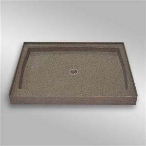 The Marble Factory Single Shower Base with Centre Drain - 48-inx36-in - Carioca Stone