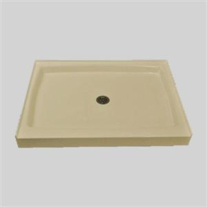 The Marble Factory Single Shower Base with Centre Drain - 60-inx 36-in - Solid Bone