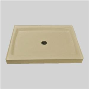 The Marble Factory Single Shower Base with Centre Drain - 48-inx 36-in - Solid Bone