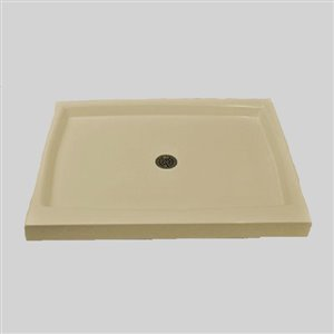 The Marble Factory Double Shower Base with Centre Drain - 48-inx 34-in - Solid Bone