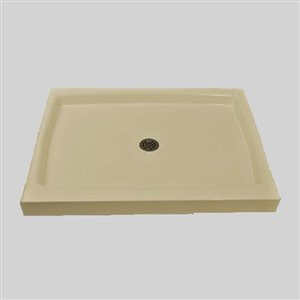The Marble Factory Double Threshold Shower Base - 42-in x 36-in - Solid Bone