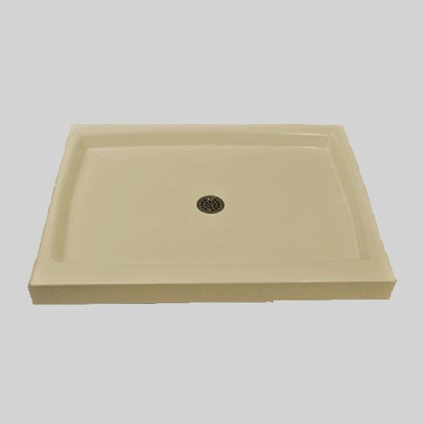 The Marble Factory Single Shower Base with Center Drain - 42-in x 36-in - Solid Bone