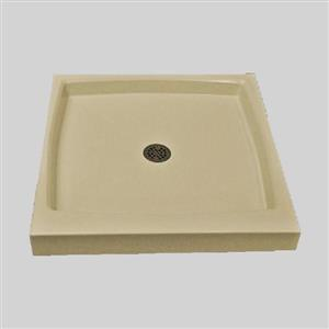 The Marble Factory Single Shower Base with Center Drain - 36-in x 36-in - Solid Bone