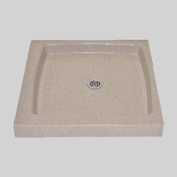 The Marble Factory Single Shower Base with Center Drain - 36-in x 36-in - Irish Cream