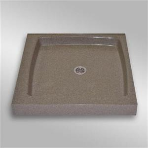 The Marble Factory Single Shower Base with Center Drain - 36-in x 36-in - Carioca Stone