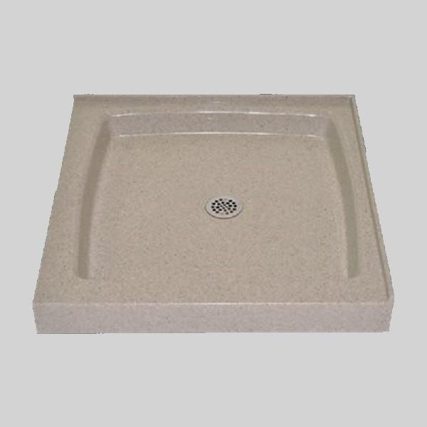 The Marble Factory Double Threshold Shower Base - 36-in x 36-in - Irish Cream
