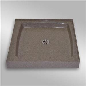 The Marble Factory Double Threshold Shower Base - 36-in x 36-in - Carioca Stone