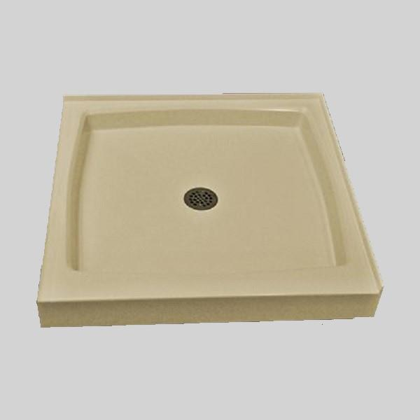 The Marble Factory Double Threshold Shower Base - 36-in x 36-in - Solid Bone