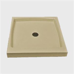 Base de douche unique avec drain centrale, 32 po x 32 po, os solide