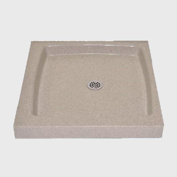 The Marble Factory Single Shower Base with Centre Drain - 32-in x 32-in - Irish Cream