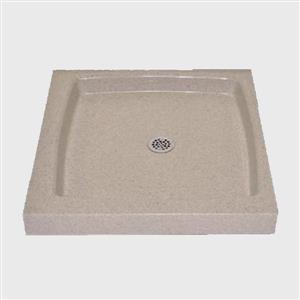 """Base de douche unique avec drain centrale, 32"""" x 32"""", crème"""