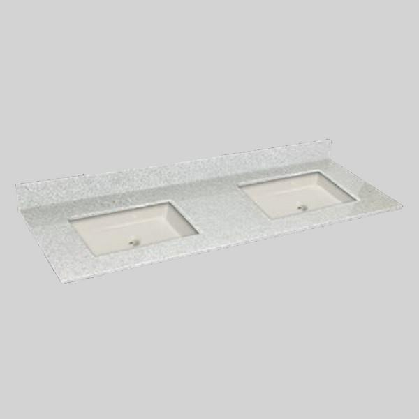 The Marble Factory The Marble Factory 61-in x 22-in Bathroom Vanity Top with Double Square Sinks - Willow Mist 61D_Square_PG907