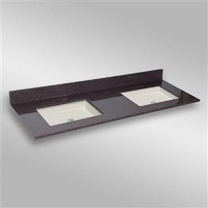 The Marble Factory 61-in x 22-in Bathroom Vanity Top with Double Square Sinks - Espresso