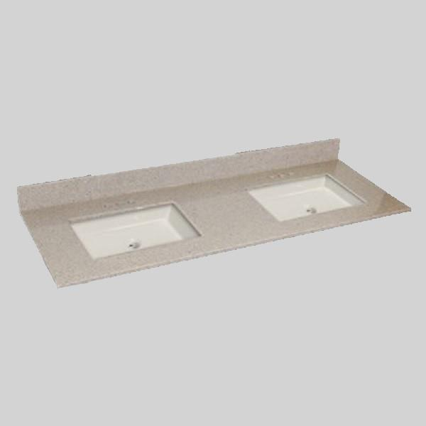 The Marble Factory The Marble Factory 61-in x 22-in Bathroom Vanity Top with Double Square Sinks - Irish Cream 61D_Square_PG141