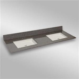 61 po x 22 po Dessus de meuble-lavabo double, carré, pierre carioca