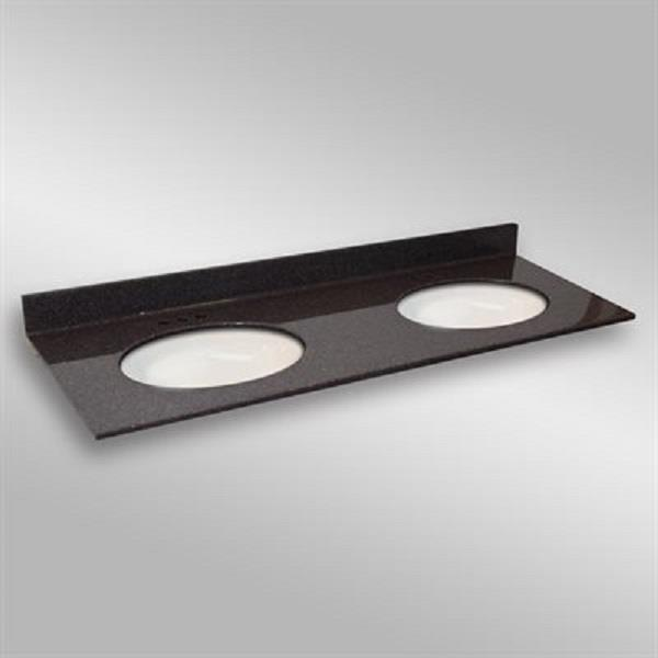 The Marble Factory 61-in x 22-in Bathroom Vanity Top with Double Oval Sinks - Espresso