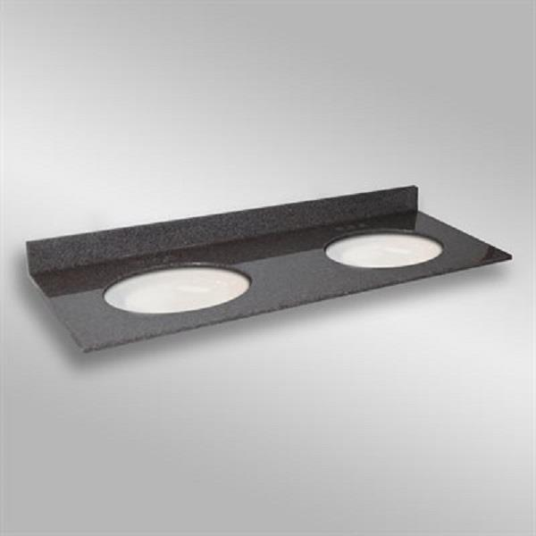 The Marble Factory The Marble Factory 61-in x 22-in Bathroom Vanity Top with Double Oval Sinks - Mystique 61D_Oval_PG901