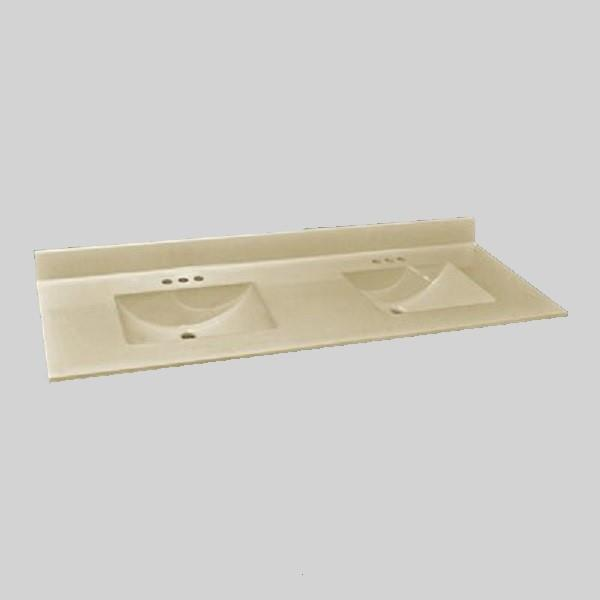 The Marble Factory The Marble Factory 61-in x 22-in Bathroom Vanity Top with Integral Double Sinks -Solid Bone 61D_Wave_B00
