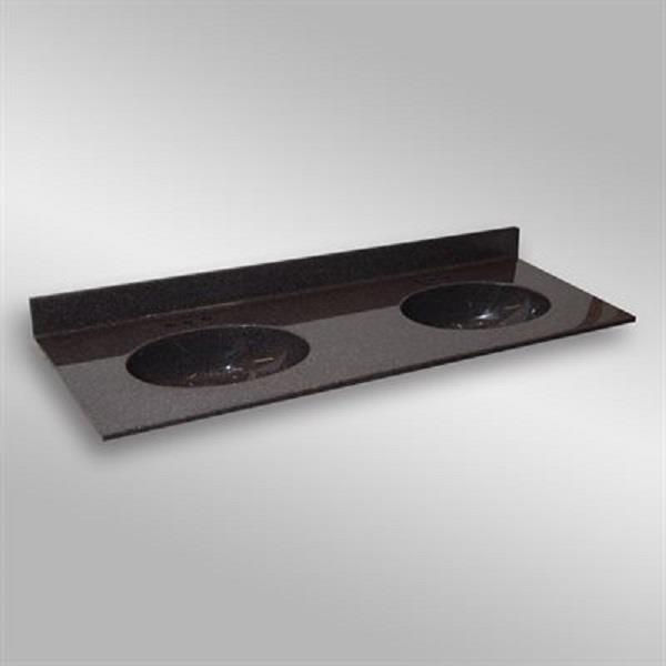 The Marble Factory The Marble Factory 61-in x 22-in Bathroom Vanity Top with Double Sinks - Espresso 61D_Malibu_PG133