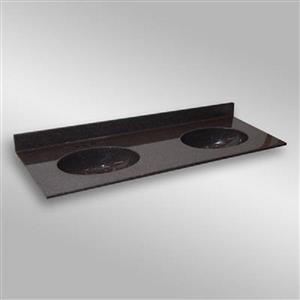 The Marble Factory 61-in x 22-in Bathroom Vanity Top with Double Sinks - Espresso