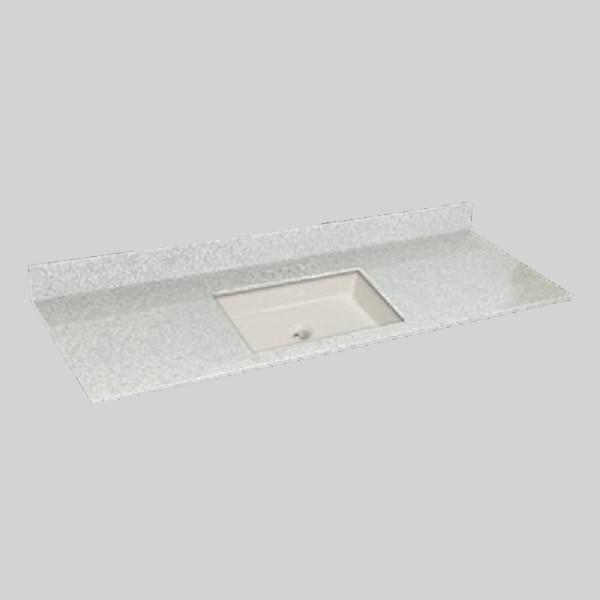The Marble Factory 61-in x 22-in Bathroom Vanity Top with Square Sink - Willow Mist