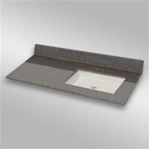 49 pox 22 po Dessus de meuble-lavabo avec bassin carré, pierre carioca